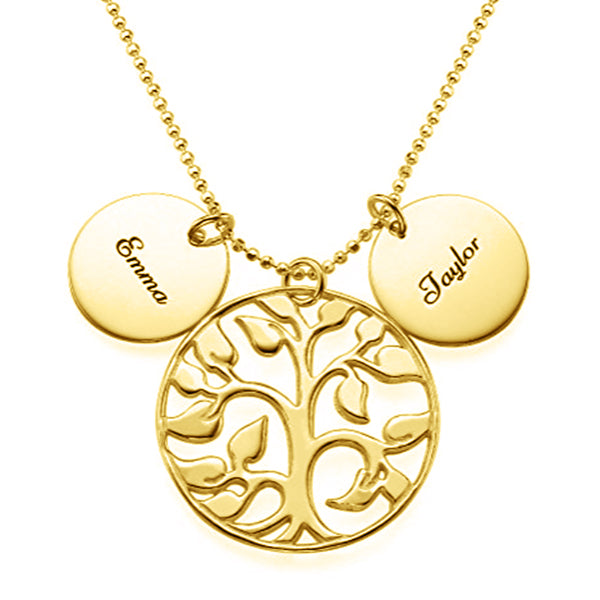 925 Sterling Silver Coin Life Tree Engraved Name Necklace -Yafeini® Design