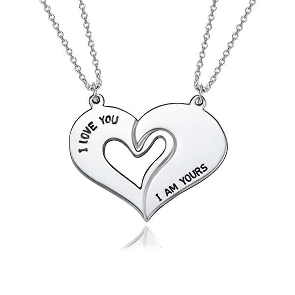 925 Sterling Silver Half Heart Engraved Name Necklace BFF necklace Nameplate Necklace - onlyone