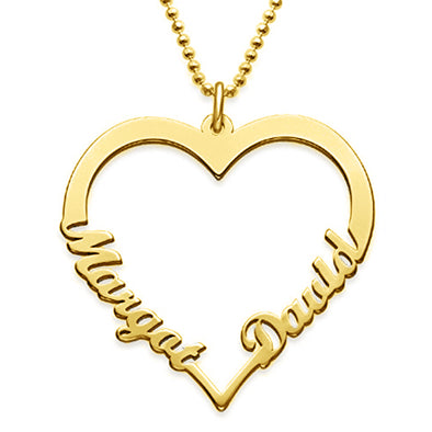 925 Sterling Silver Classic Heart 2 Name Necklace Nameplate Necklace - onlyone