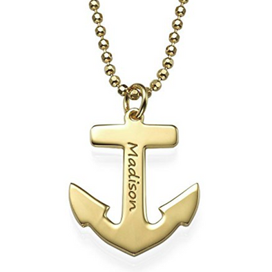 925 Sterling Silver Charm Anchor Engraved Name Necklace Nameplate Necklace - onlyone