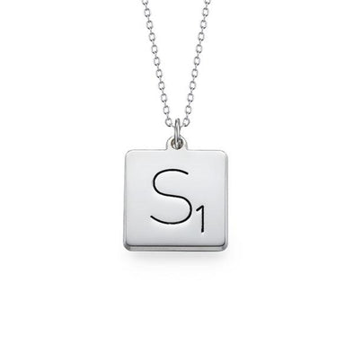 925 Sterling Silver Engraved Square Initial Necklace - onlyone