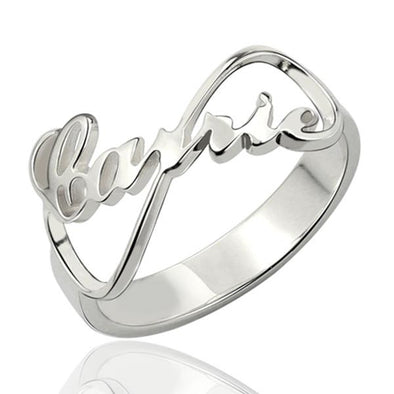 925 Sterling Silver Personalized Infinity Nameplate Ring Nameplate Ring - onlyone