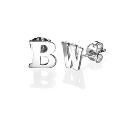 925 Sterling Silver Personalized Initial Stud Earrings - onlyone