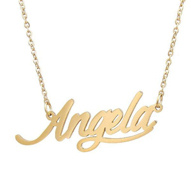 925 Sterling Silver Custom Angela Name Necklace Nameplate Necklace - onlyone