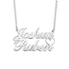 925 Sterling Silver Joshua Double Names Necklace Nameplate Necklace
