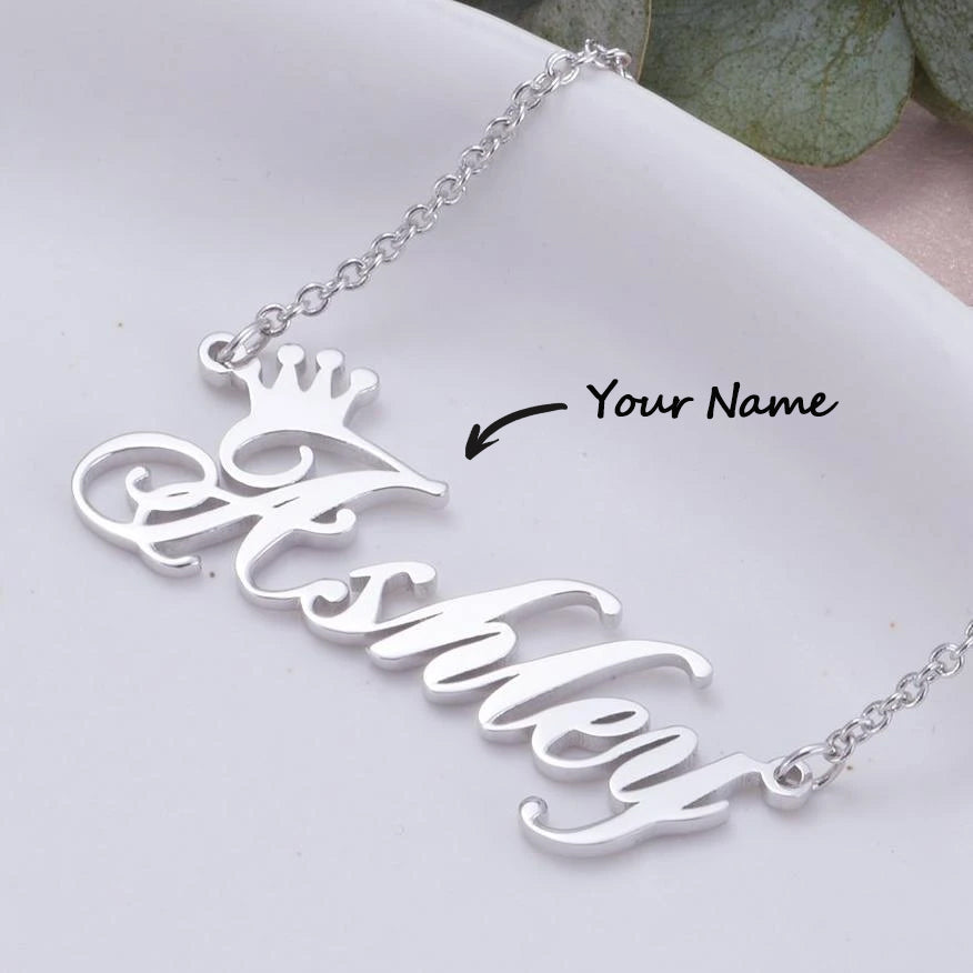 925 Sterling Silver Ashley Name Crown Necklace Nameplate Necklace You Are My Queen - onlyone