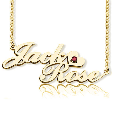 925 Sterling Silver Custom Two Name Heart Necklace Nameplate Necklace With Birthstone - onlyone