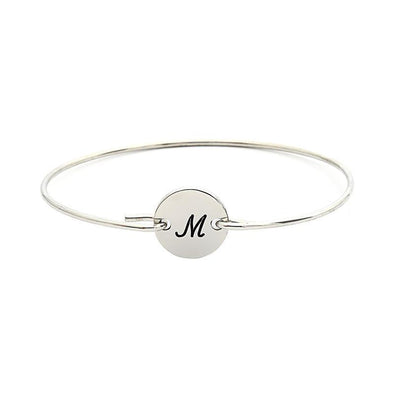 925 Sterling Silver Personalized Single Initital Bangle From A To Z - onlyone