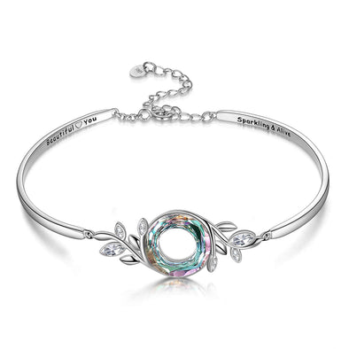 925 Sterling Silver Adjustable Leaves Bracelet With Swarovski Crystal - onlyone