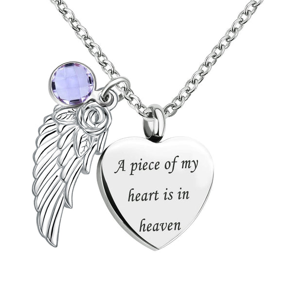925 Sterling Silver Angel Wing Charm Heart Love Birthstone Urn Necklace Cremation Jewelry for Ashes - onlyone