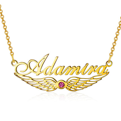 925 Sterling Silver Angel Wings Name Necklace Nameplate Necklace With Birthstone - onlyone