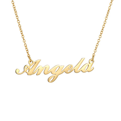 925 Sterling Silver Angela Custom Name Necklace Nameplate Necklace - onlyone
