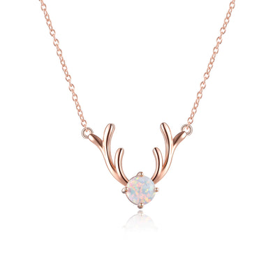 925 Sterling Silver Antler Pendant Necklace With Opal Christmas Gift - onlyone