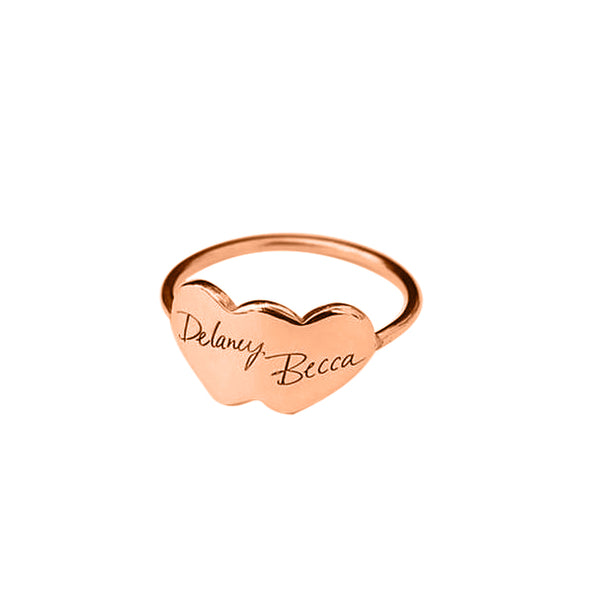 925 Sterling Silver Personalized Handwriting Double Heart Engraved Ring - onlyone
