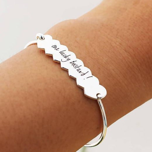 925 Sterling Silver Personalized Signature Engraved Eternity Heart Bangle - onlyone