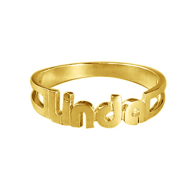 "925 Sterling Silver Personalized ""Linda"" Style Name Ring Nameplate Ring - onlyone"