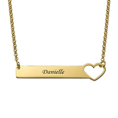 925 Sterling Silver Engraved Heart Bar Custom Name Necklace Nameplate Necklace - onlyone