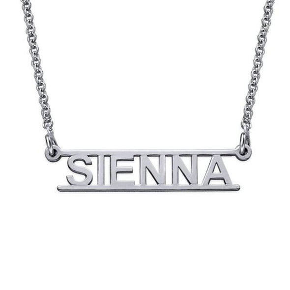 925 Sterling Silver Hollow Engraved Bar Custome Name Necklace Nameplate Necklace - onlyone