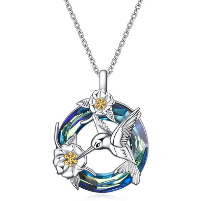 925 Sterling Silver Hummingbird And Flower Necklace With Crystal