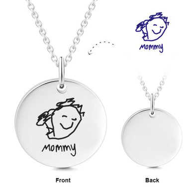 925 Sterling Silver Kid'S Drawing Disc Engraved Photo Necklace - onlyone