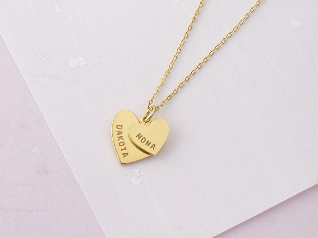 925 Sterling Silver Double Heart Engraved Name Necklace Nameplate Necklace Mom and Daughter - onlyone
