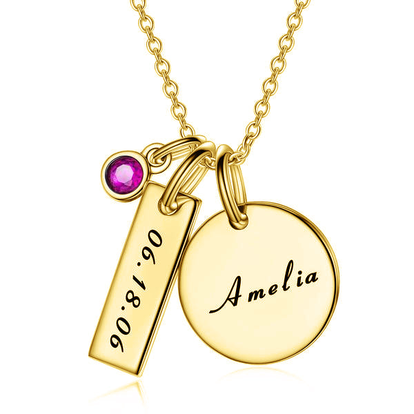 925 Sterling Silver Birthstone Engraved Coin Name Necklace -Yafeini® Design