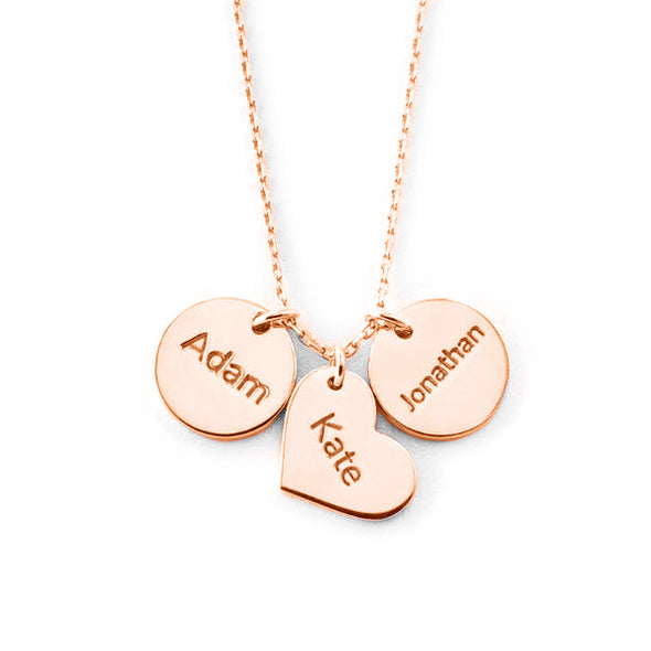 925 Sterling Silver Coin Heart Engraved Name Necklace Nameplate Necklace - onlyone