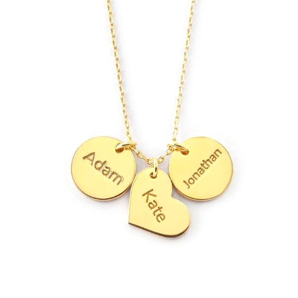 925 Sterling Silver Coin Heart Engraved Name Necklace -Yafeini® Design