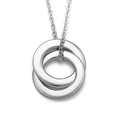 925 Sterling Silver Engraved 2 Russian Rings Custom Name Necklace Gift Nameplate Necklace - onlyone