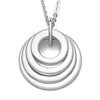 925 Sterling Silver Engraved Circle 4 Rings Name Necklace Gift Nameplate Necklace - onlyone