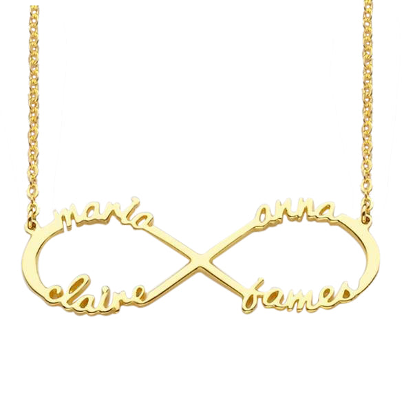 925 Sterling Silver Infinity 4 Names Necklace -Yafeini® Design