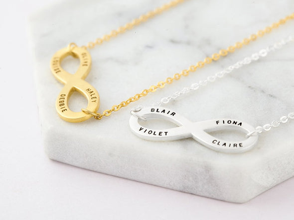 925 Sterling Silver Engraved Infinity 4 Names Necklace Nameplate Necklace - onlyone