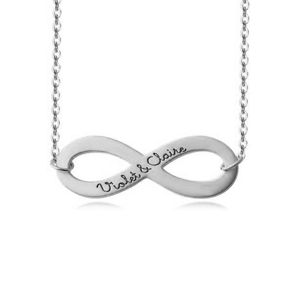 925 Sterling Silver Infinity Couple Name Engraved Necklace Nameplate Necklace - onlyone