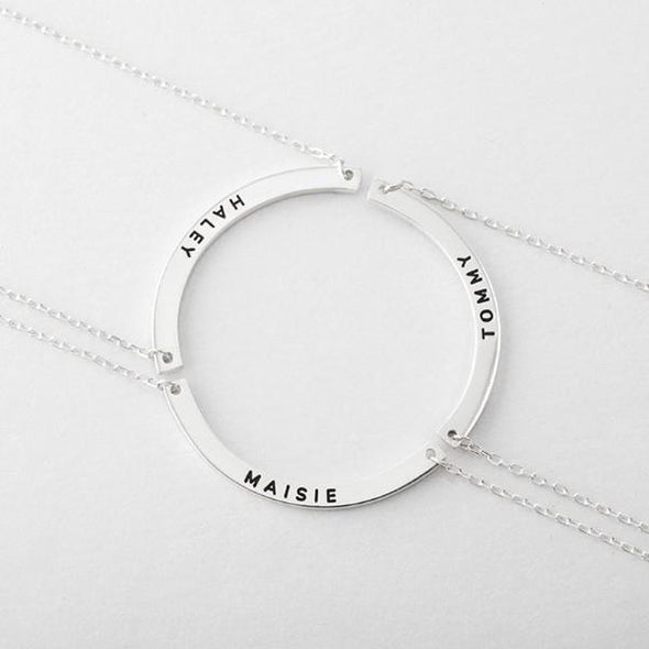 925 Sterling Silver Circle Friendship Engraved 3 Names Necklace Set, Nameplate Necklace, Buy 1 Get 3 Necklaces, Back to School Necklaces - onlyone