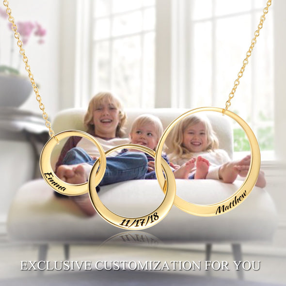 925 Sterling Silver Engraved 3 Circle Name Heart Necklace Nameplate Necklace Gift For Mom - onlyone