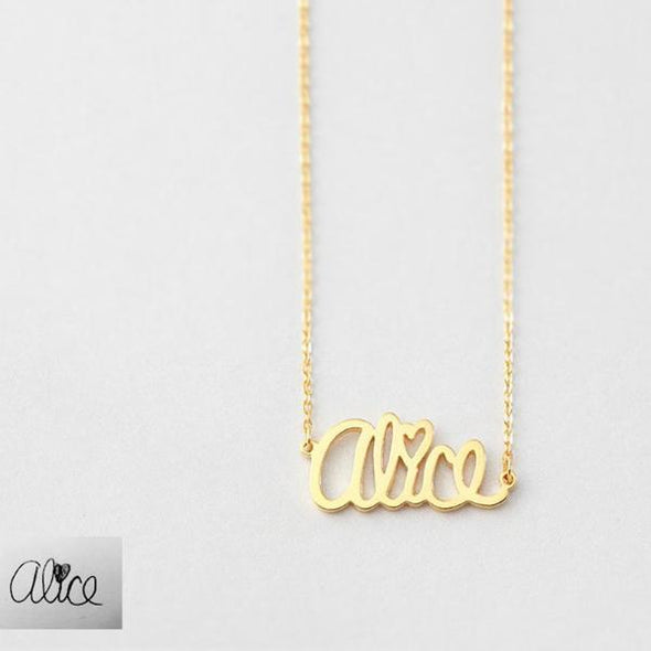925 Sterling Silver Dainty Signature Name Necklace Nameplate Necklace - onlyone