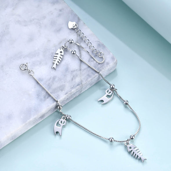 925 Sterling Silver Cats And Fishes Anklet - onlyone