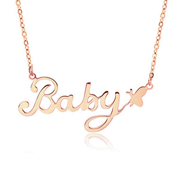 925 Sterling Silver Butterfly Style Custom Name Necklace Nameplate Necklace - onlyone