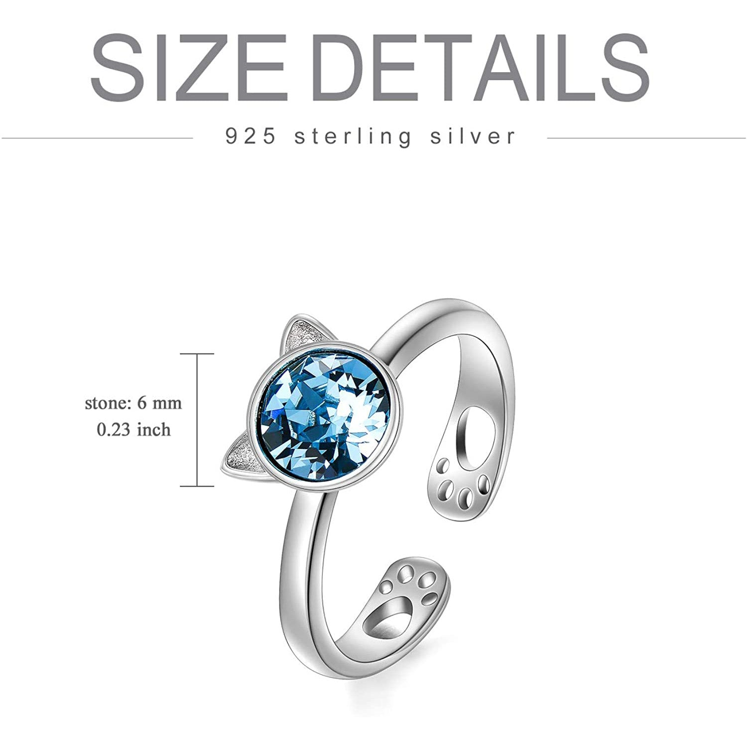 925 Sterling Silver Cat Ring With Swarovski Crystal