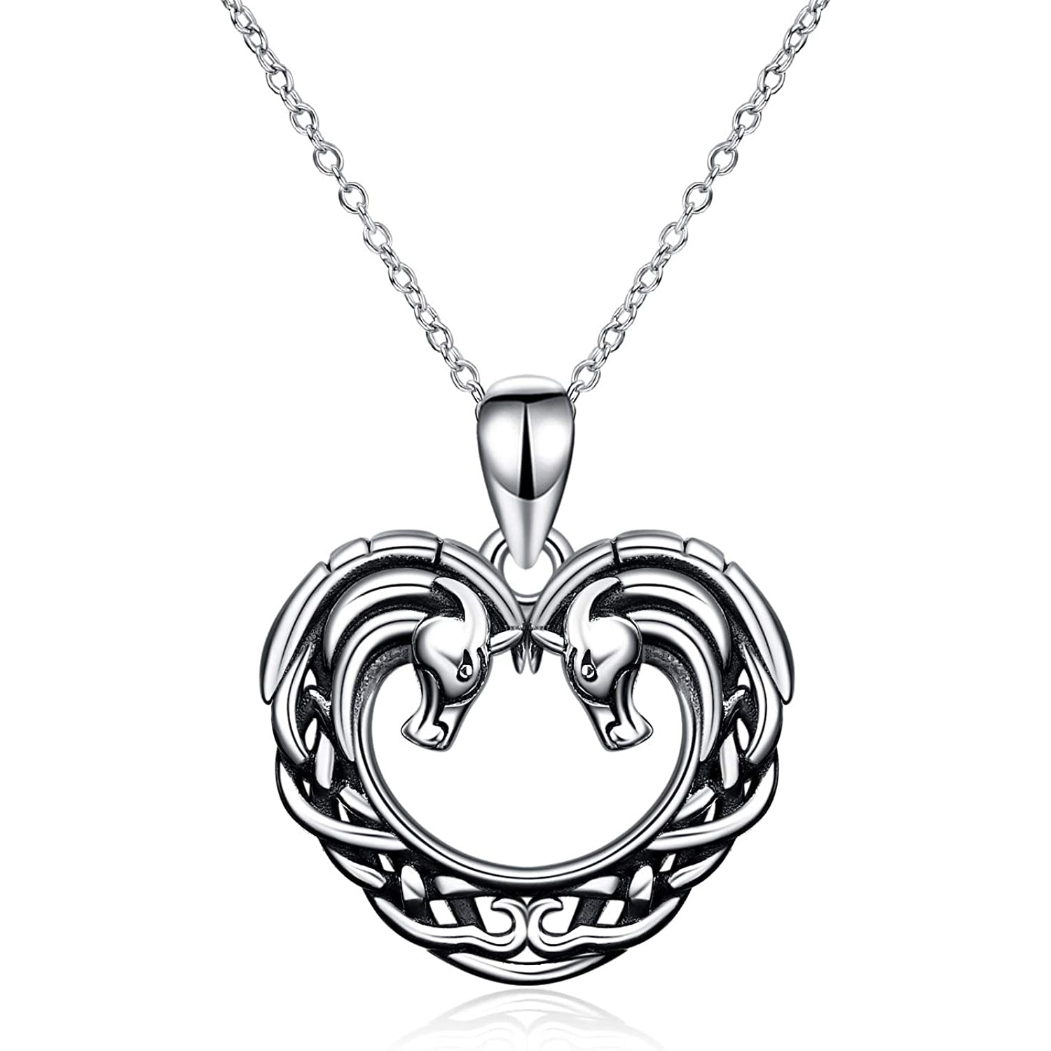 925 Sterling Silver Horse Heart Pendant Necklace