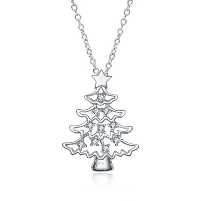 925 Sterling Silver Christmas Tree Pendant Necklace With Cubic Zirconia Christmas Gift - onlyone