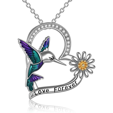 925 Sterling Silver Hummingbird And Flower Necklace