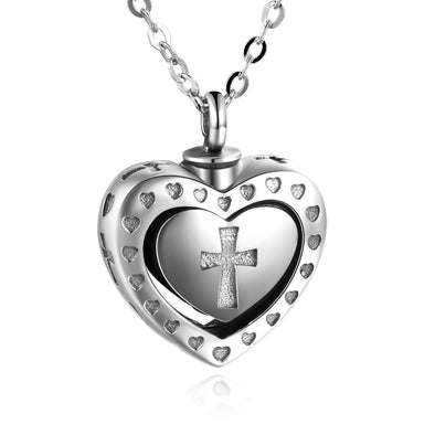 925 Sterling Silver Cremation Jewelry for Ashes Cross Heart Locket Pendant Urn Necklace - onlyone