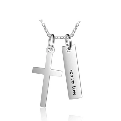925 Sterling Silver Cross And Vertical Bar Necklace - onlyone