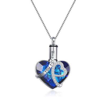 925 Sterling Silver Swarovski Crystal Heart Urn Necklace Cremation Keepsake Necklace for Ashes I Love You Forever - onlyone