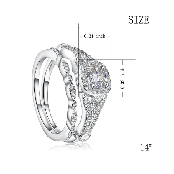 925 Sterling Silver Cubic Zirconia Halo Engagement Wedding Ring Set - onlyone