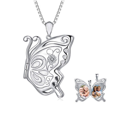 925 Sterling Silver Butterfly Photo Locket Necklace