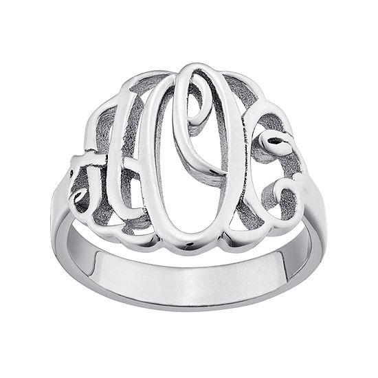925 Sterling Silver Personalized Script Style Thick Monogram Ring - onlyone