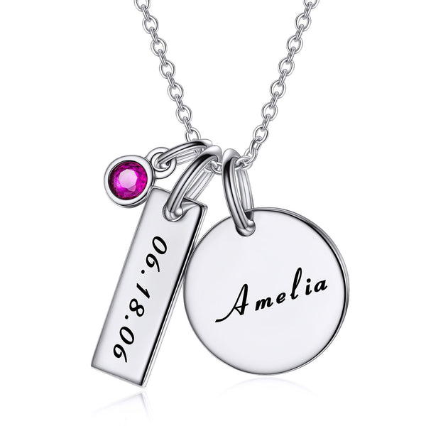 Birthstone Engraved Coin Name Necklace-Engraved Necklaces-YAFEINI-yafeini-personalized-custom-jewelry