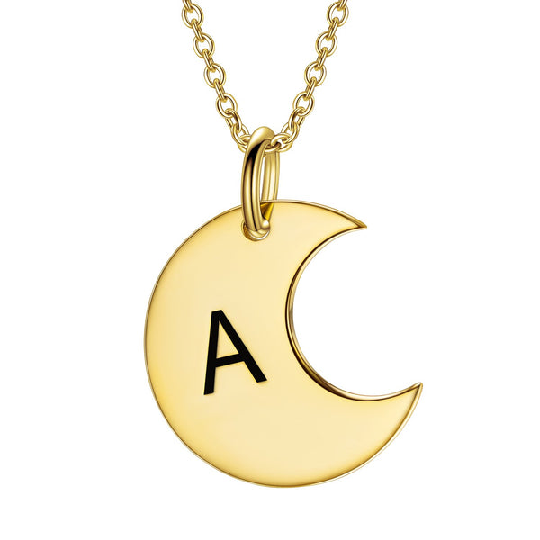 Dainty Gold Moon Initial Engraved Necklace-Engraved Necklaces-YAFEINI-yafeini-personalized-custom-jewelry